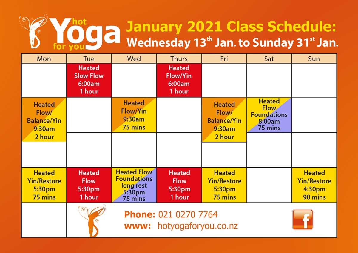 Hot Yoga for You Masterton Timetable