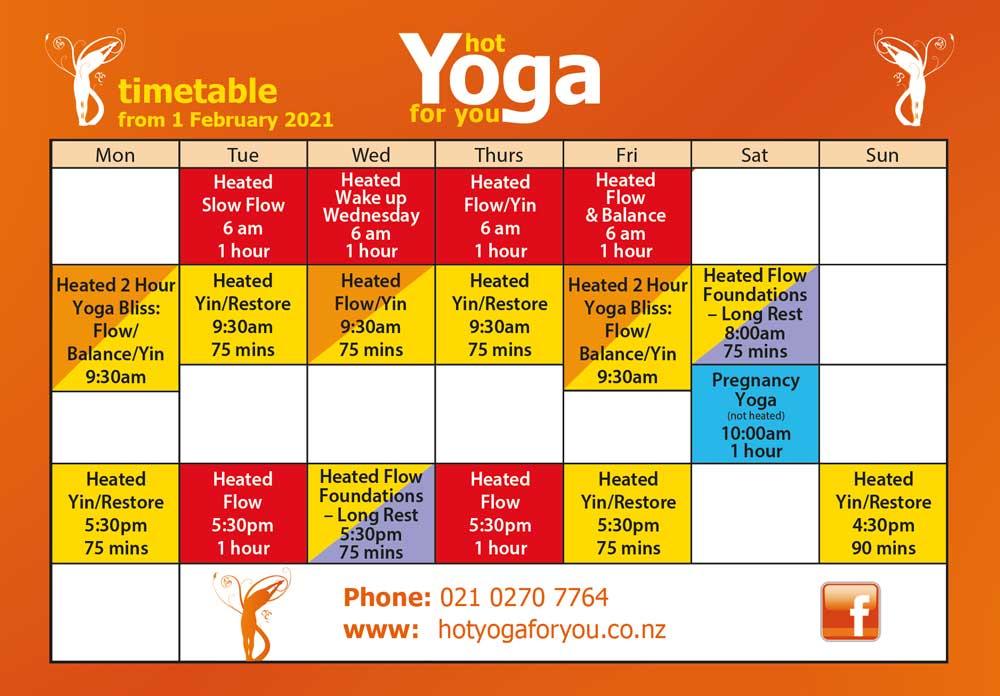 Hot Yoga Wairarapa Calendar 2021